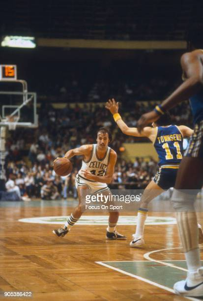 Chris Ford of the Boston Celtics dribbles the ball against the Golden State Warriors during an NBA basketball game circa 1979 at the Boston Garden in...