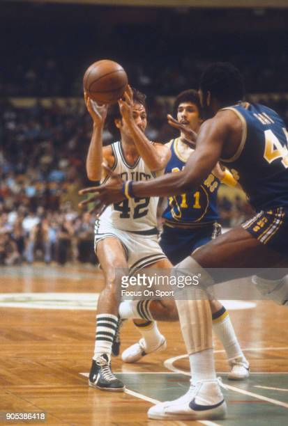Chris Ford of the Boston Celtics looks to pass the ball against the Golden State Warriors during an NBA basketball game circa 1979 at the Boston...