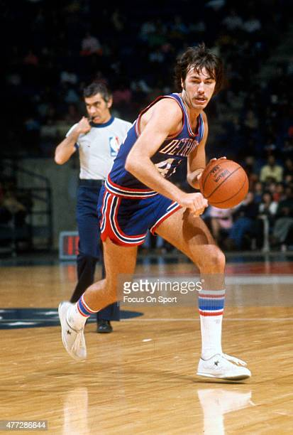 Chris Ford of the Detroit Pistons dribbles the ball against the Baltimore Bullets during an NBA basketball game circa 1972 at the Baltimore Civic...