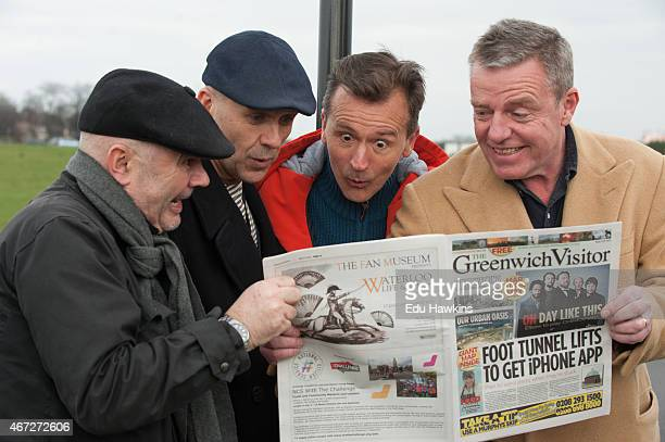 Chris Foreman Mark Bedford Daniel Woodgate and Graham McPherson of Madness visit Blackheath ahead of their headline gig at OnBlackheath festival on...
