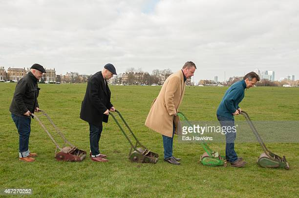 Chris Foreman Mark Bedford Graham McPherson and Daniel Woodgate of Madness get the heath ready ahead of their headline gig at OnBlackheath festival...