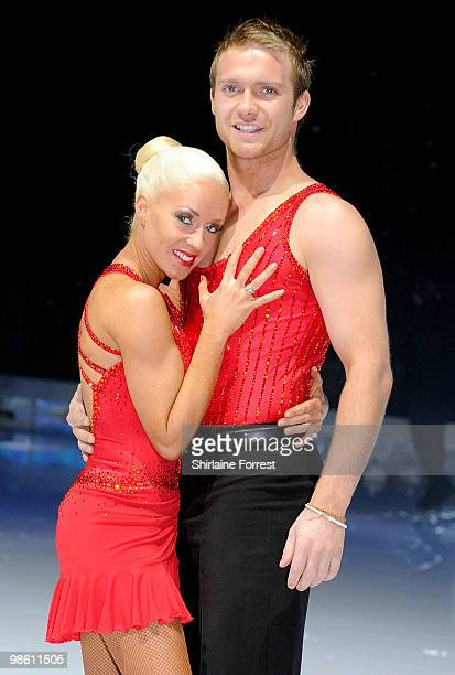 Chris Fountain and Brianne Delcourt attend a photocall for Torvill Dean's 'Dancing On Ice' tour 2010 at MEN Arena on April 22 2010 in Manchester...