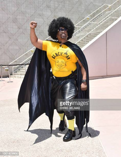 Chris Fraley poses as Black Man at Comic Con in San Diego July 19 2018 The Comic Con fan convention brings 130000 visitors a year to San Diego where...