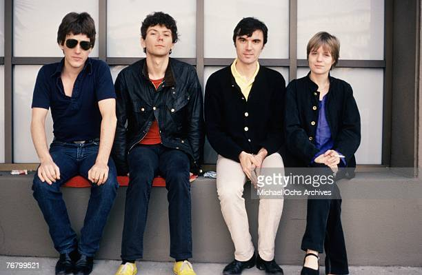 Chris Frantz Jerry Harrison David Byrne and Tina Weymouth of the Talking Heads pose for publicity shots in December 1977 in Hollywood California