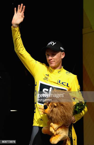 Chris Froom of Great Britain and Team Sky celebrates retaining the yellow jersey during stage six of the 2017 Le Tour de France, a 216km road stage...