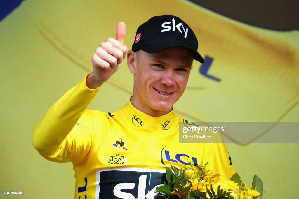 Chris Froom of Great Britain and Team Sky celebrates retaining the yellow jersey during stage eight of the 2017 Le Tour de France, a 187.5km road stage from Dole to Station Des Rousses on July 8, 2017 in Dole, France.