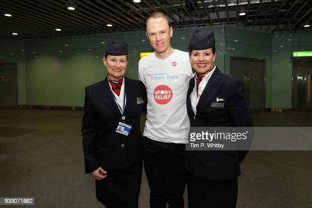 Chris Froome helps British Airways customers at Heathrow Airport Terminal 5 by cycling guests to their gates to raise money for Sport Relief on March...