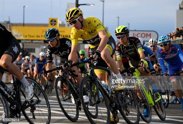 Chris Froome of Britain competes during the criterium main race at the Tour de France Saitama Criterium cycling road race in Saitama on November 4...
