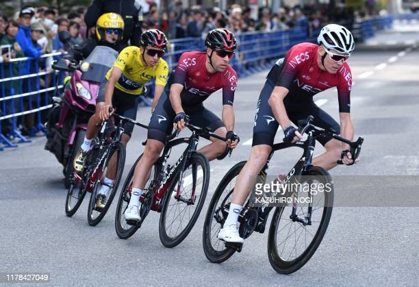 Chris Froome of Britain , Jonathan Castroviejo of Spain and Egan Bernal of Colombia , all of Team Ineos, compete in the team time trial race of the...