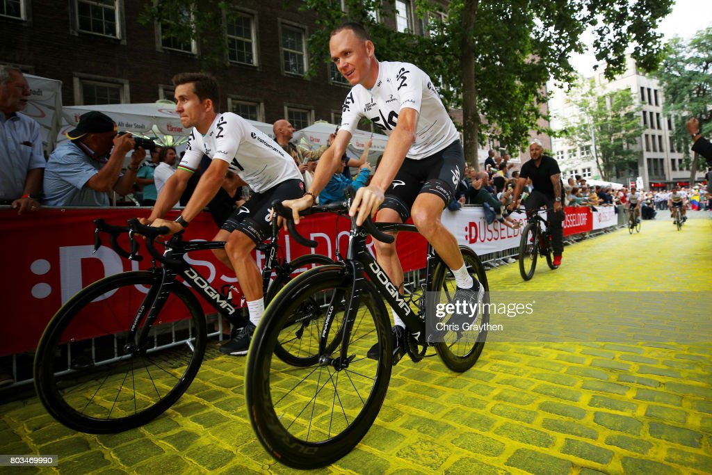 Chris Froome of Great Britain and Michal Kwiatkowski of Poland and Team Sky ride during the team presentation for the 2017 Le Tour de France on June 29, 2017 in Duesseldorf, Germany.
