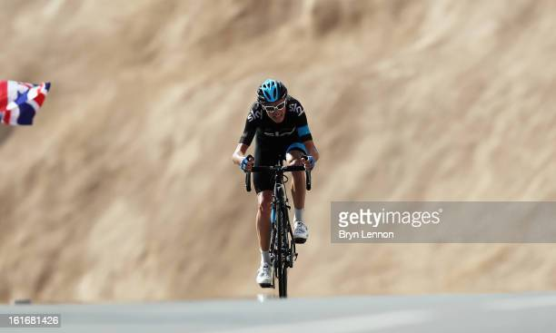Chris Froome of Great Britain and SKY Procycling rides up Green Mountain on stage four of the 2013 Tour of Oman from Al Saltiyah in Samail to Jabal...