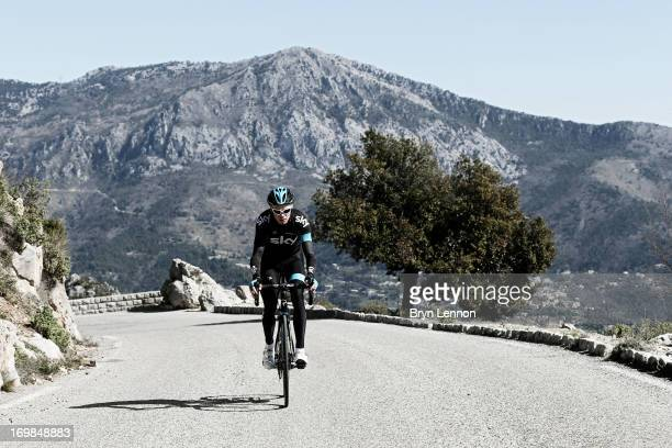 Chris Froome of Great Britain and SKY Procycling trains in the hills above Monaco on March 16 2013 in Monaco France
