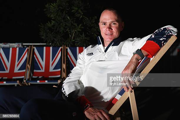 Chris Froome of Great Britain and Team GB poses for a photo during a British Cycling press conference on August 2 2016 in Rio de Janeiro Brazil