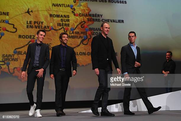 Chris Froome of Great Britain and Team Sky alongside Richie Porte of Australia and BMC Racing Team Romain Bardet of France and AG2R La Mondiale and...