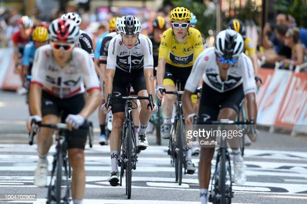 Chris Froome of Great Britain and Team Sky and Geraint Thomas of Great Britain and Team Sky finishing stage 16 of Le Tour de France 2018 between...