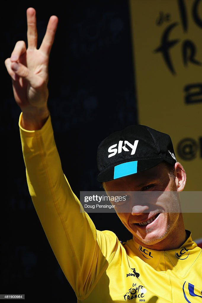 L'ALPE D'HUEZ, FRANCE - JULY 25: Chris Froome of Great Britain and Team SKY celebrates after retaining his overall leaders yellow jersey after the twentieth stage of the 2015 Tour de France, a 110.5 km stage between Modane Valfrejus and L'Alpe d'Huez on July 25, 2015 in L'Alpe d'Huez, France.