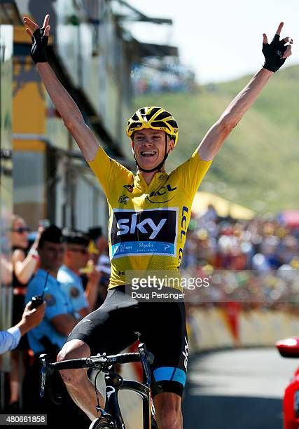 Chris Froome of Great Britain and Team Sky celebrates as he crosses the finish line to win stage ten of the 2015 Tour de France, a 167 km stage...