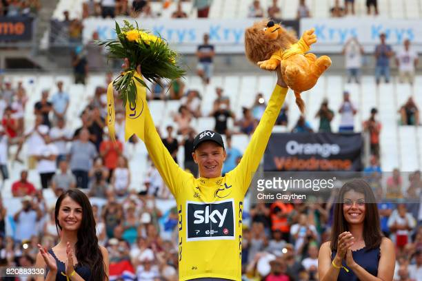 Chris Froome of Great Britain and Team Sky celebrates in the yellow jersey following stage twenty of Le Tour de France 2017 on July 22, 2017 in...