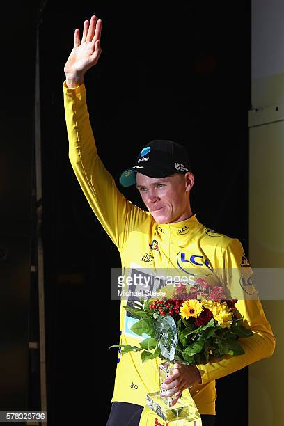 Chris Froome of Great Britain and Team Sky celebrates victory in stage eighteen of the 2016 Le Tour de France from Sallanches to Megeve on July 21...