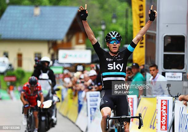 Chris Froome of Great Britain and Team SKY celebrates winning stage five of the 2016 Criterium du Dauphine a 140km stage from La Ravoire to Vaujany,...