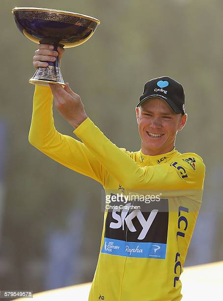 Chris Froome of Great Britain and Team Sky celebrates winning the 2016 Le Tour de France following stage twenty one of the 2016 Le Tour de France,...