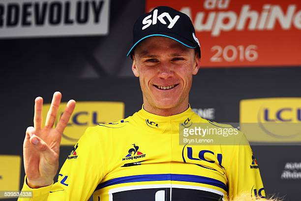 Chris Froome of Great Britain and Team SKY celebrates winning the 2016 Criterium du Dauphine a 151km stage from Le PontdeClaix to Superdevoluy on...