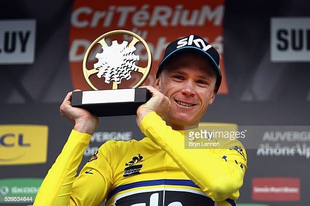 Chris Froome of Great Britain and Team SKY celebrates winning the 2016 Criterium du Dauphine on June 12 2016 in Superdevoluy France
