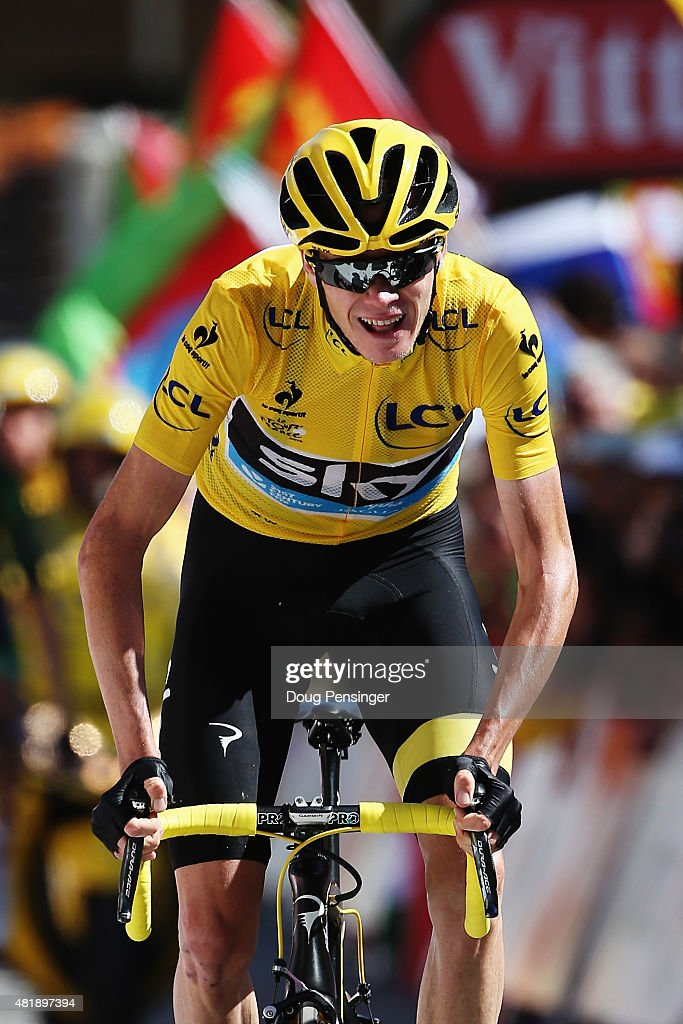 L'ALPE D'HUEZ, FRANCE - JULY 25: Chris Froome of Great Britain and Team Sky crosses the finish line at the end of the twentieth stage of the 2015 Tour de France, a 110.5 km stage between Modane Valfrejus and L'Alpe d'Huez on July 25, 2015 in L'Alpe d'Huez, France.