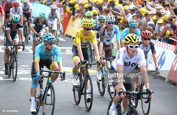 Chris Froome of Great Britain and Team Sky crosses the finish line of stage 7 of the Tour de France 2017, a stage between Troyes and...