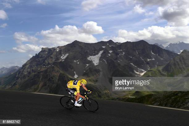 Chris Froome of Great Britain and Team SKY descends the Col du Galibier on stage seventeen of the 2017 Tour de France, a 183km road stage from La...
