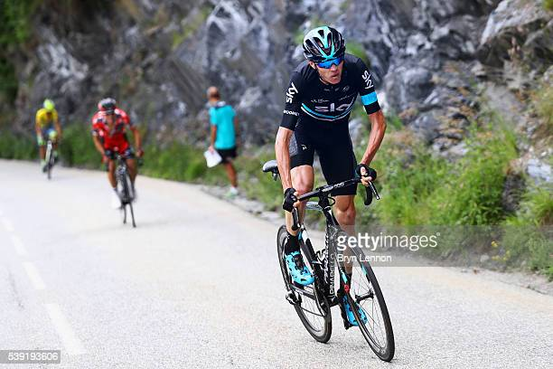 Chris Froome of Great Britain and Team SKY distances Richie Porte of Australia and the BMC Racing Team and race leader Alberto Contador of Spain and...