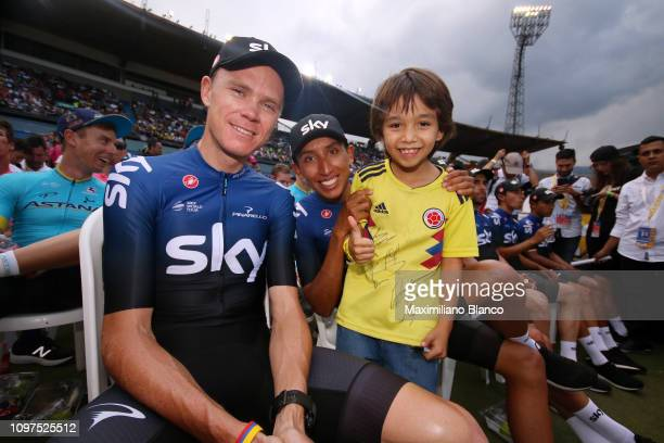 Chris Froome of Great Britain and Team Sky / Egan Arley Bernal of Colombia and Team Sky / Children / Fans / during the 2nd Tour of Colombia 2019 Team...