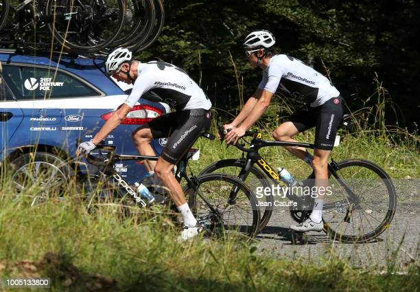 Chris Froome of Great Britain and Team Sky Geraint Thomas of Great Britain and Team Sky warm up climbing Col du Portillon from their hotel in Spain...