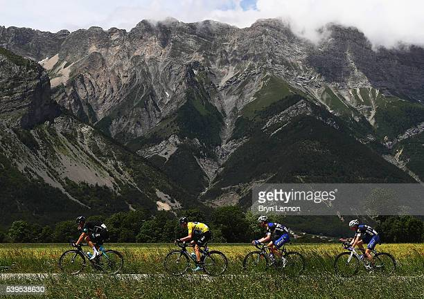Chris Froome of Great Britain and Team SKY in the peloton with his team mates during stage seven of the 2016 Criterium du Dauphine a 151km stage from...