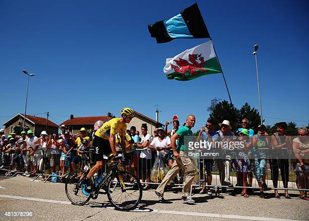 Chris Froome of Great Britain and Team Sky is escorted to the start line for the sixteenth stage of the 2015 Tour de France, a 201km stage between...