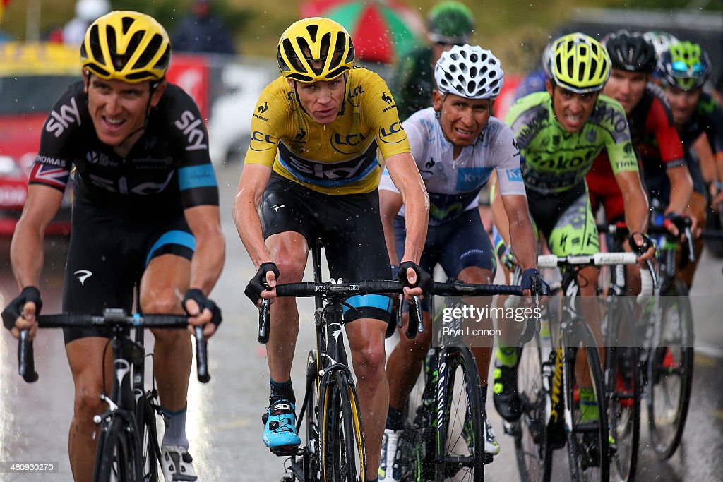 Chris Froome of Great Britain and Team Sky, Nairo Alexander Quintana Rojas of Colombia and Movistar Team, Alberto Contador of Spain and Tinkoff-Saxo, Tejay van Garderen of the United States and BMC Racing Team and r509 watch Geraint Thomas of Great Britain and Team Sky as he rides during stage twelve of the 2015 Tour de France, a 195 km stage between Lannemezan and Plateau de Beille, on July 16, 2015 in Plateau de Beille, France.