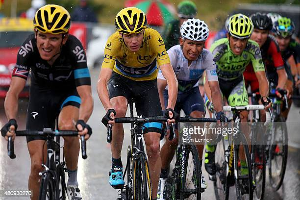 Chris Froome of Great Britain and Team Sky Nairo Alexander Quintana Rojas of Colombia and Movistar Team Alberto Contador of Spain and TinkoffSaxo...