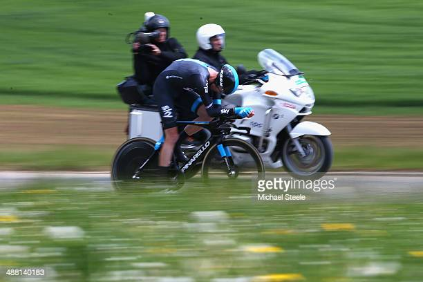 Chris Froome of Great Britain and Team Sky on his way to victory during the 185km individual time trial stage five of the Tour de Romandie from...