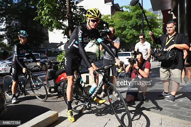 Chris Froome of Great Britain and Team Sky overall leader of Le Tour de France after eight stages arrives to attend a press conference on July 11...