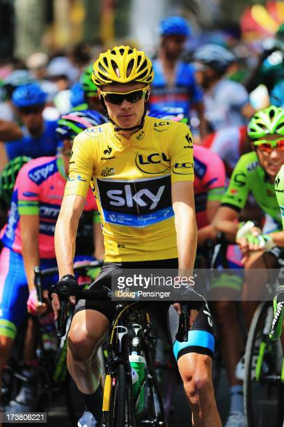 Chris Froome of Great Britain and Team Sky Procycling prepares to ride during stage eighteen of the 2013 Tour de France a 1725KM road stage from Gap...