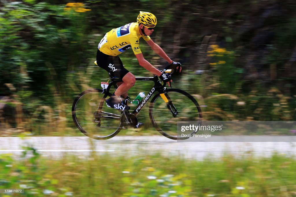 Chris Froome of Great Britain and Team Sky Procycling rides during stage eighteen of the 2013 Tour de France, a 172.5KM road stage from Gap to l'Alpe d'Huez, on July 18, 2013 in Alpe d'Huez, France.