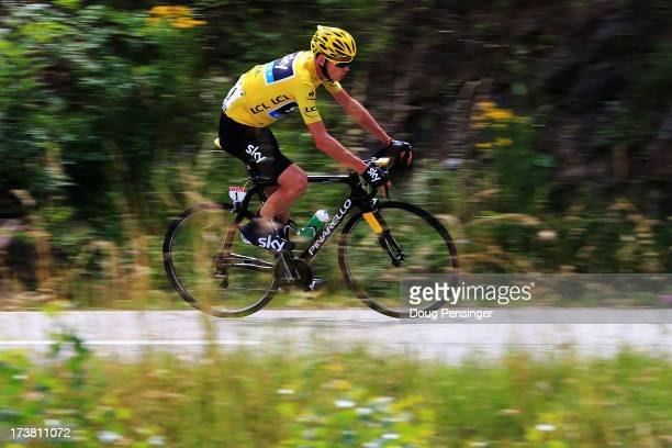 Chris Froome of Great Britain and Team Sky Procycling rides during stage eighteen of the 2013 Tour de France, a 172.5KM road stage from Gap to l'Alpe...