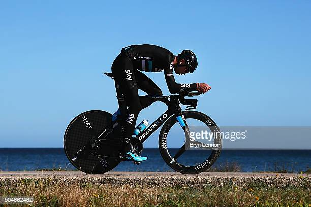 Chris Froome of Great Britain and Team Sky trains on his time tiral bike during a media day at a Team Sky Training Camp on January 12, 2016 in...