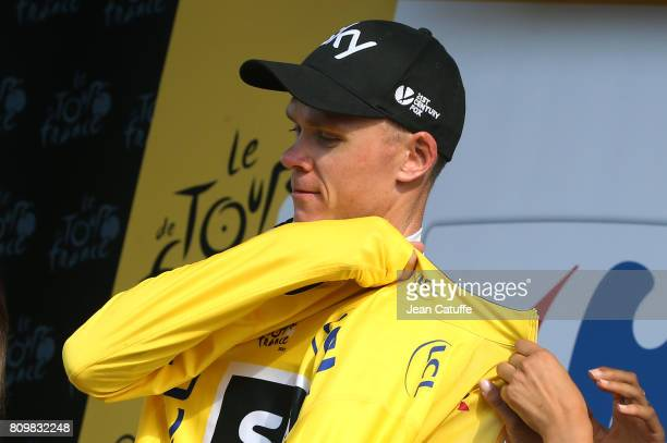 Chris Froome of Great Britain retains the yellow jersey following stage 6 of the Tour de France 2017, a stage between Vesoul and Troyes on July 6,...