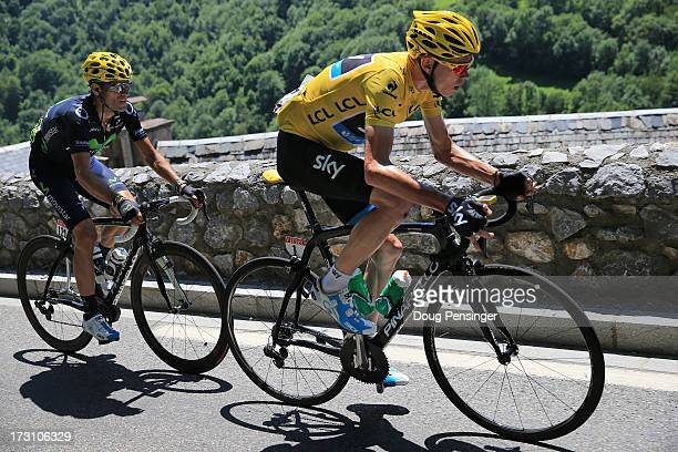 Chris Froome of Great Britain riding for Sky Procycling is followed by Aljeandro Valverde of Spain riding for Team Movistar during stage nine of the...