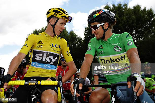 Chris Froome of Great Britain riding for Team Sky and Peter Sagan of Slovakia riding for Tinkoff talk as they prepare for stage eleven of the 2016 Le...