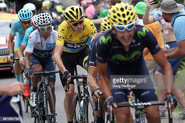 Chris Froome of Great Britain riding for Team Sky defends the overall race leader yellow jersey against Nairo Quintana of Columbia riding for...