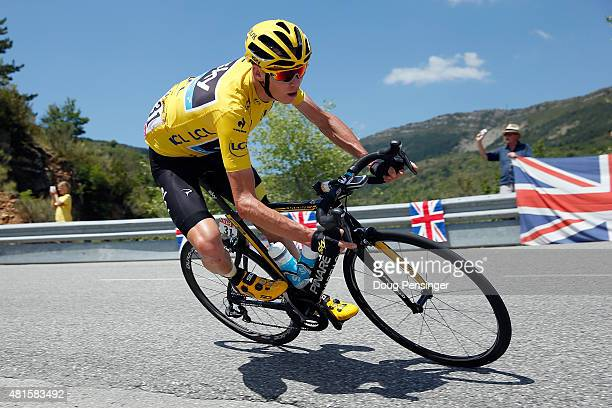 Chris Froome of Great Britain riding for Team Sky descends the Col des Leques as he defends the overall race leader yellow jersey during stage 17 of...