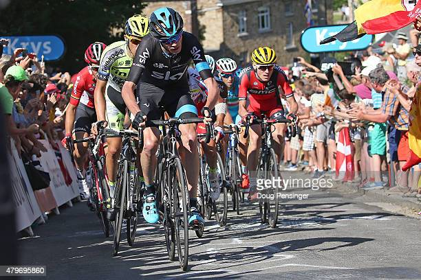 Chris Froome of Great Britain riding for Team Sky leads the race ahead of Alberto Contador of Spain riding for TinkoffSaxo and Tejay van Garderen of...
