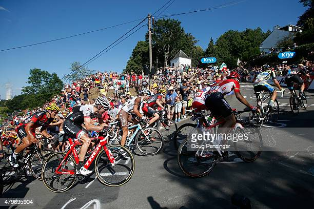 Chris Froome of Great Britain riding for Team Sky leads the race ahead of Alberto Contador of Spain riding for TinkoffSaxo on the climb of the Mur de...